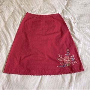 Northern Reflections Linen Blend Embroidered Skirt